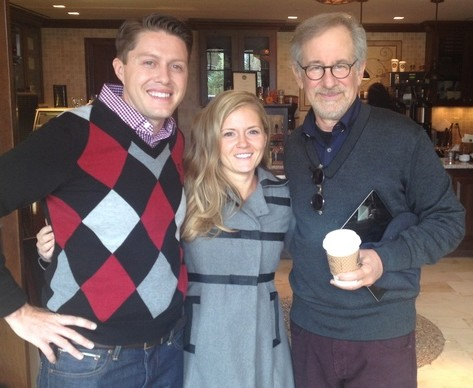 Rob Ferre and his wife Larissa with Steven Spielberg